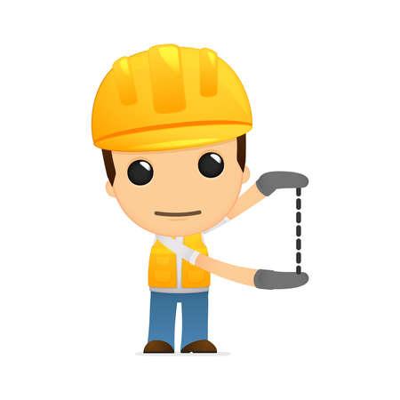 headwear: funny cartoon builder Illustration