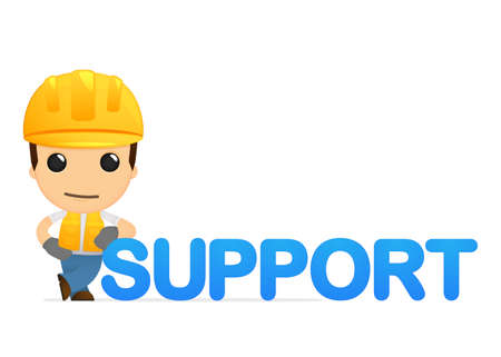 technical support: funny cartoon builder Illustration