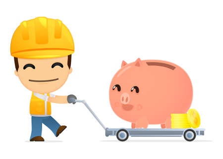 funny cartoon builder Stock Vector - 13312737