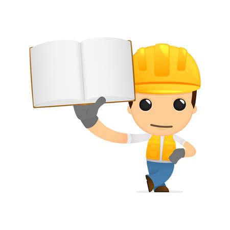 repairman: funny cartoon builder Illustration