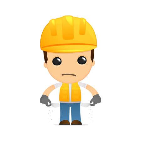 industrial worker: funny cartoon builder Illustration