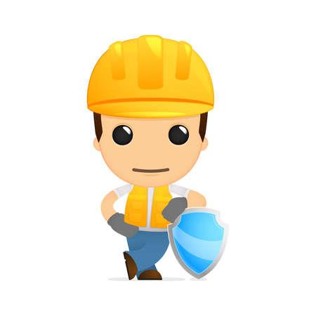 seguridad laboral: constructor de divertidos dibujos animados Vectores