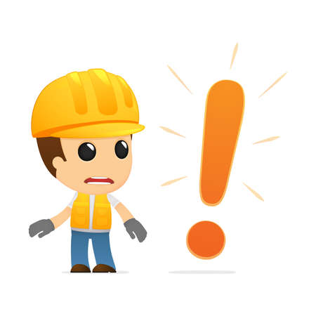ingenieurs: grappige cartoon bouwer Stock Illustratie