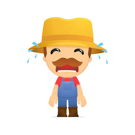 upset man: funny cartoon farmer Illustration