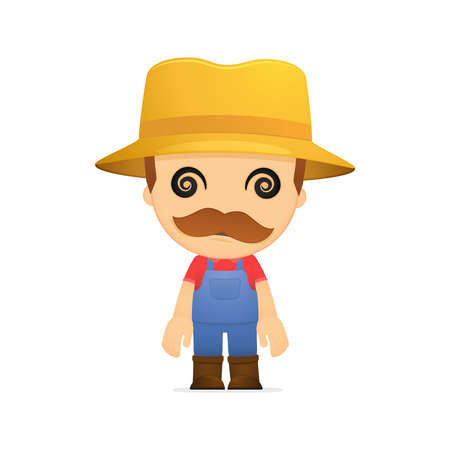 hypnose: funny cartoon farmer Illustration