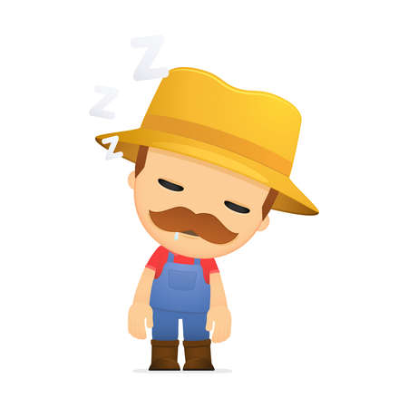 tired worker: funny cartoon farmer Illustration
