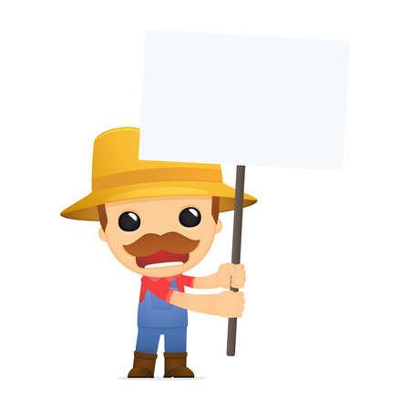 agriculturist: funny cartoon farmer Illustration
