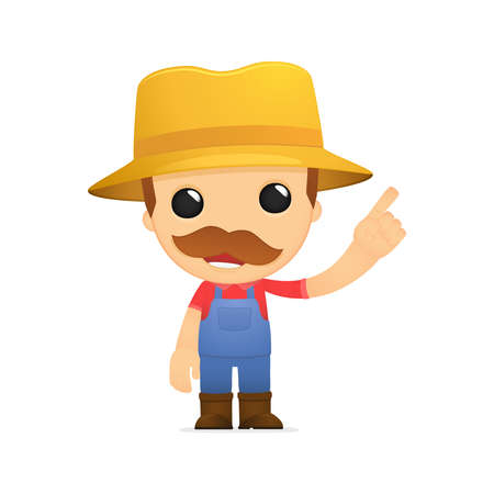 farm worker: funny cartoon farmer Illustration