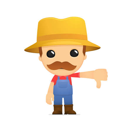 thumbs down: funny cartoon farmer Illustration