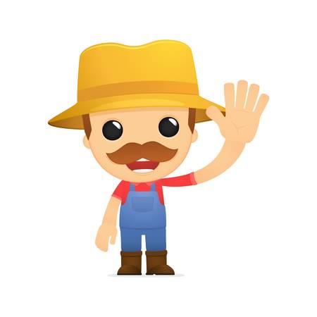 granjero: granjero divertido de la historieta Vectores
