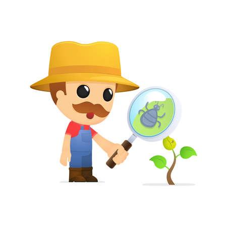 köylü: funny cartoon farmer Çizim
