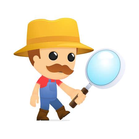 villager: funny cartoon farmer Illustration