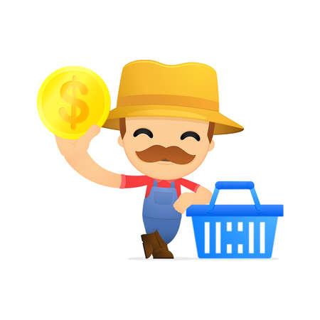 funny cartoon farmer Illustration