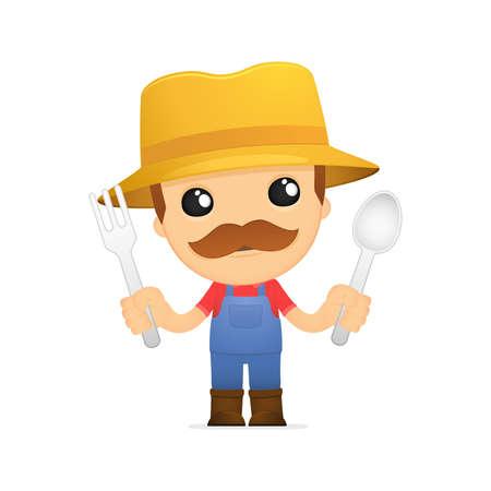 eatery: funny cartoon farmer Illustration
