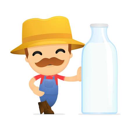 dairy farm: funny cartoon farmer Illustration