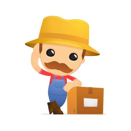 delivery man: funny cartoon farmer Illustration