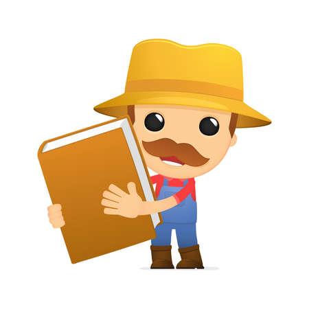 literary characters: funny cartoon farmer Illustration