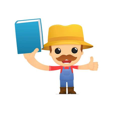 literary man: funny cartoon farmer Illustration