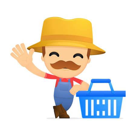 e market: funny cartoon farmer Illustration