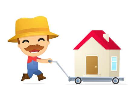 conceptual cute: funny cartoon farmer Illustration