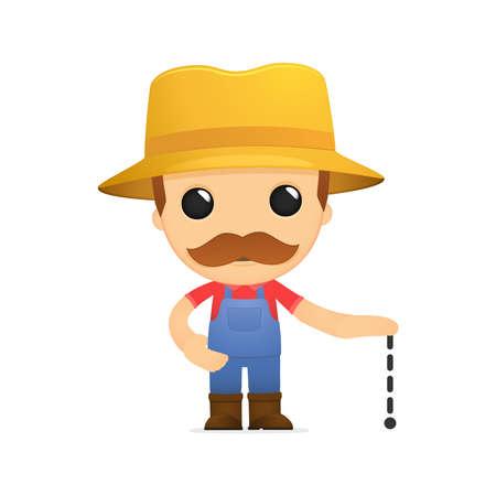 small scale: funny cartoon farmer Illustration