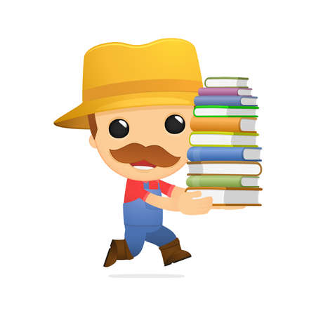 literary man: funny cartoon farmer Illustration