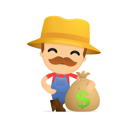 riches: funny cartoon farmer Illustration