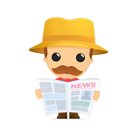 newspaper articles: funny cartoon farmer Illustration