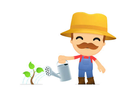 seedling growing: funny cartoon farmer Illustration