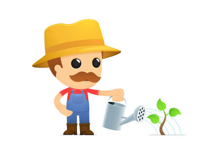 rancher: funny cartoon farmer Illustration