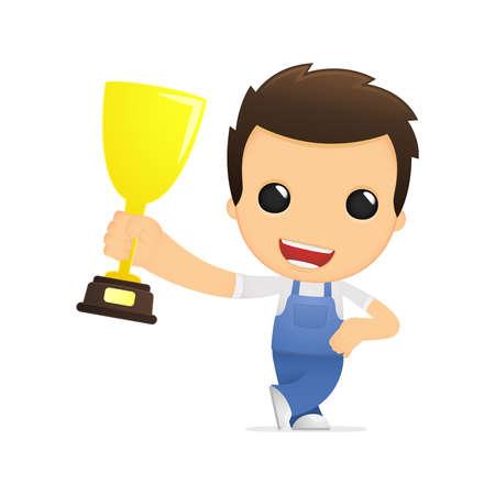 winner man: funny cartoon mechanic