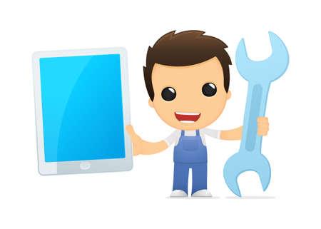laptop repair: funny cartoon mechanic
