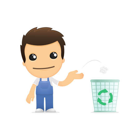 recycle bin: funny cartoon mechanic