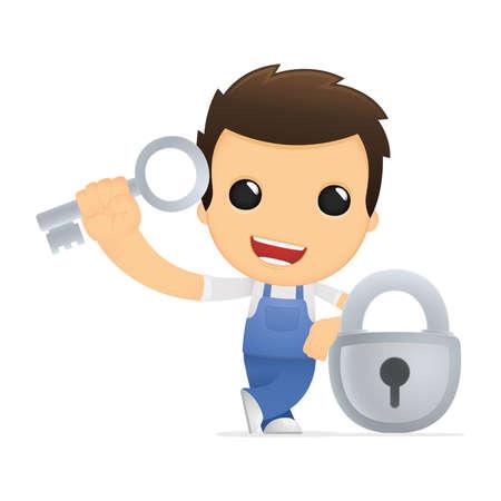 secret service: funny cartoon mechanic
