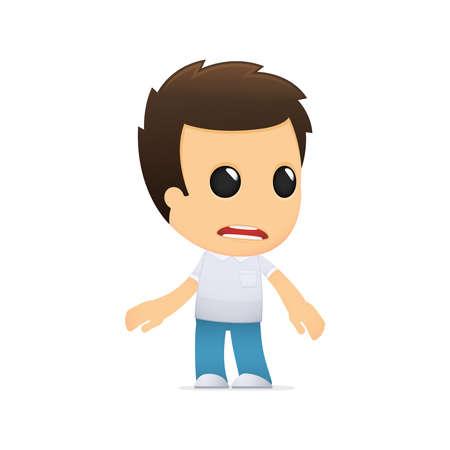 desperate: dibujos animados hombre informal divertida Vectores