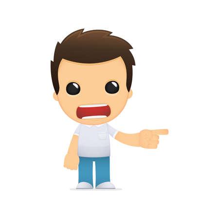 angry teenager: funny cartoon casual man Illustration