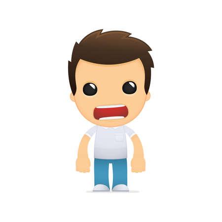 anger kid: uomo buffo cartone animato casuale