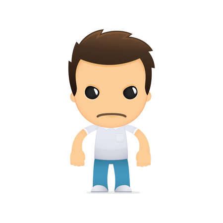 unhappy worker: funny cartoon casual man Illustration