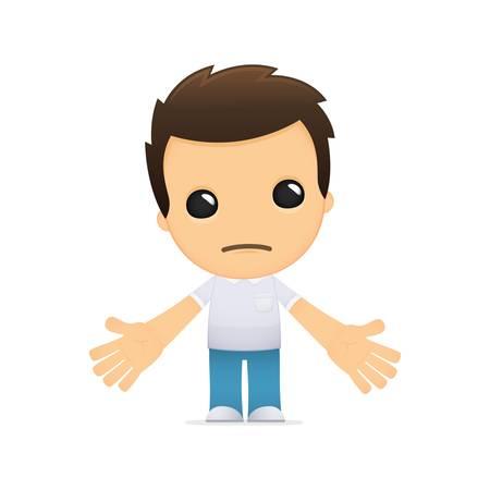 grappige cartoon casual man in verschillende poses voor gebruik in reclame, presentaties, brochures, blogs, documenten en formulieren, enz.