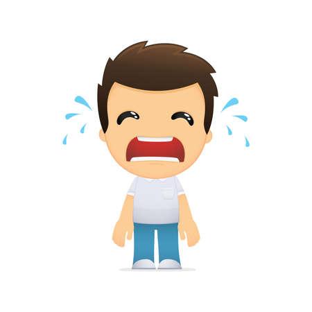 wenen: grappige cartoon casual man