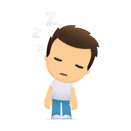 lazy: funny cartoon casual man Illustration
