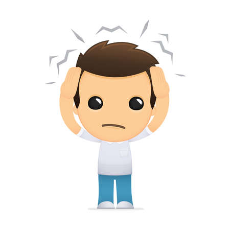 headache: funny cartoon casual man Illustration