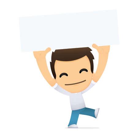 child holding sign: funny cartoon casual man Illustration