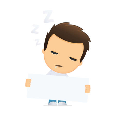 sleepy man: funny cartoon casual man Illustration