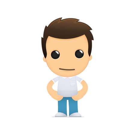 young man: funny cartoon casual man Illustration