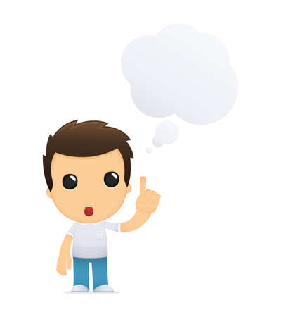 thinking student: funny cartoon casual man Illustration