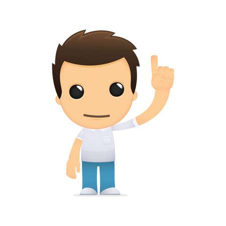 finger point: funny cartoon casual man Illustration