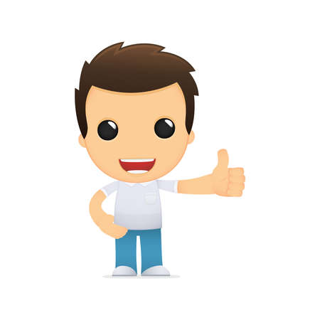 yes: funny cartoon casual man Illustration