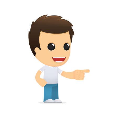 finger index: funny cartoon casual man Illustration