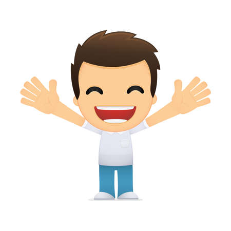 teenagers laughing: funny cartoon casual man Illustration